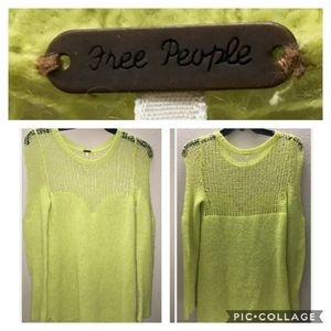 Free people sunshine yellow cable knit sweater M